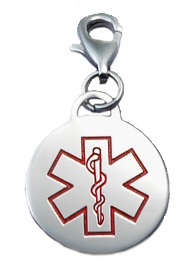Medical Info in a wallet with medical charm